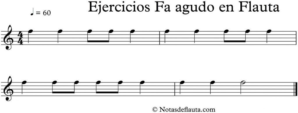 ejercicios de flauta con la nota fa agudo