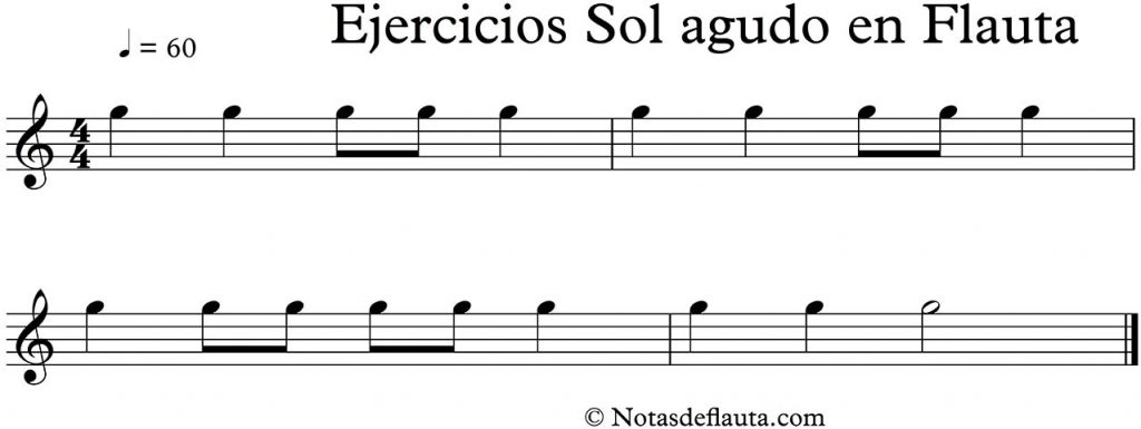 ejercicios para practicar sol agudo en flauta dulce