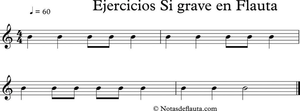 ejercicios de flauta de la nota si