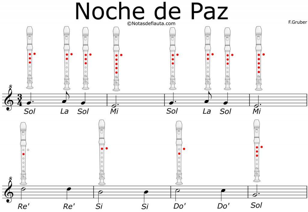 noche de paz notas flauta
