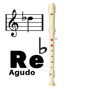 nota re bemol agudo en flauta